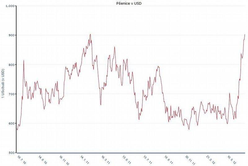 Cena pšenice v posledních dvou letech