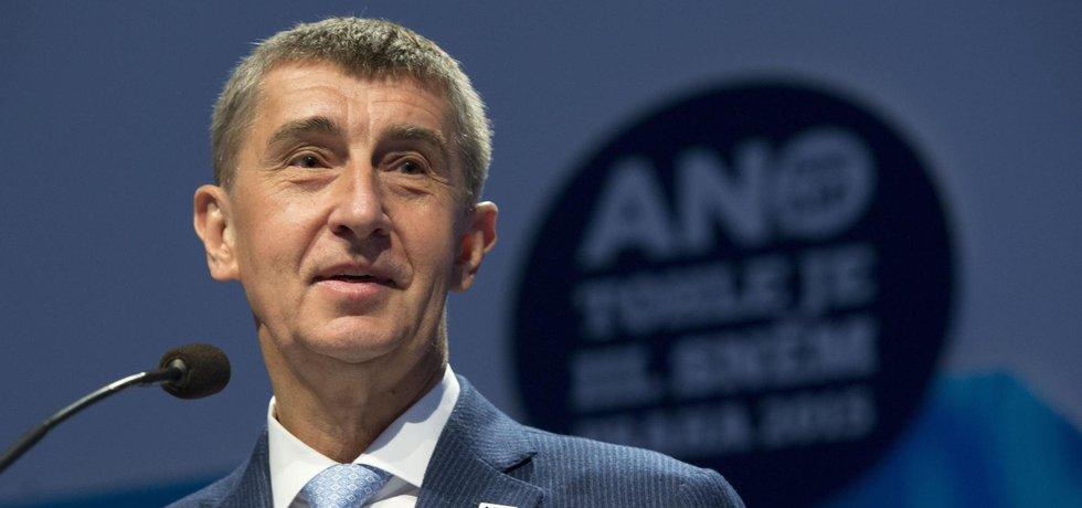Předseda ANO Andrej Babiš na sjezdu strany