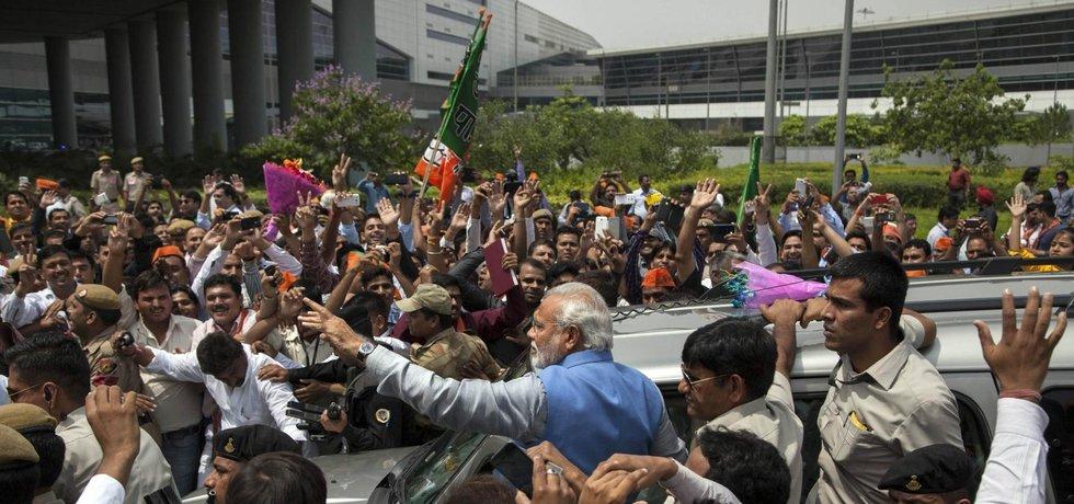 Oslavy budoucího indického premiéra Naréndra Módího v Dillí po vítězství ve volbách