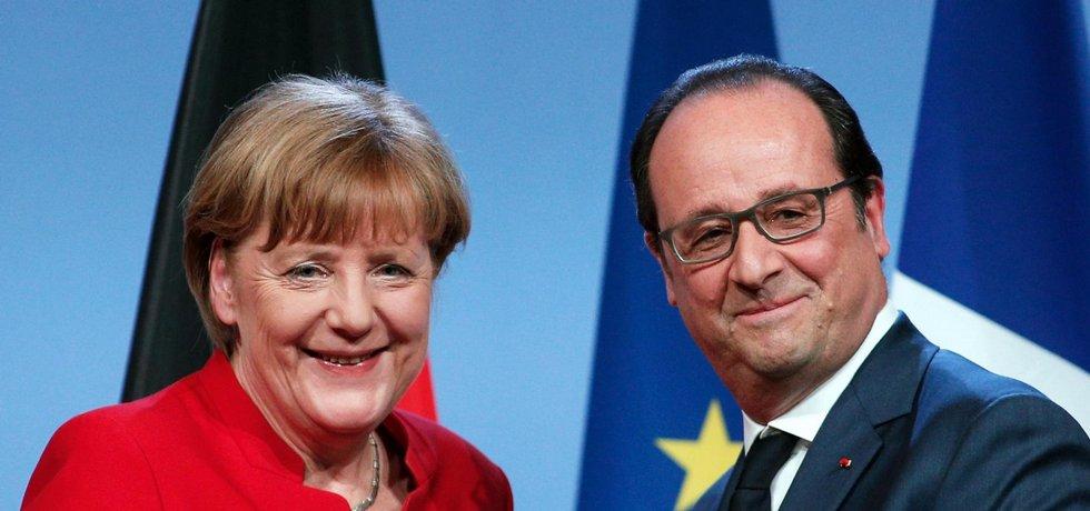 Angela Merkelová a Francoise Hollande