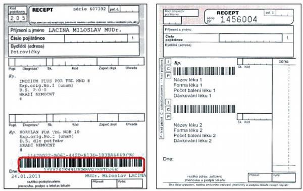 """Vlevo ePreskripce SÚKL, vpravo """"počítačový"""" recept s Tramisem (tisk na jakýkoli recept přímo ze SW lékaře)"""