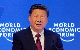 Čínský prezident Si Ťin-pching na Světovém ekonomickém fóru v Davosu