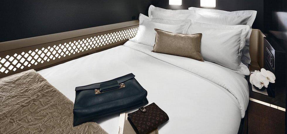 Součástí apartmánu Residence na palubě Airbusu A30 Etihad Airways je oddělená ložnice s dvojlůžkem.