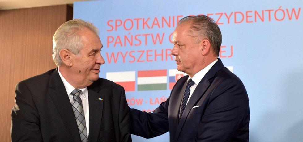 Miloš Zeman na setkání prezidentů V4