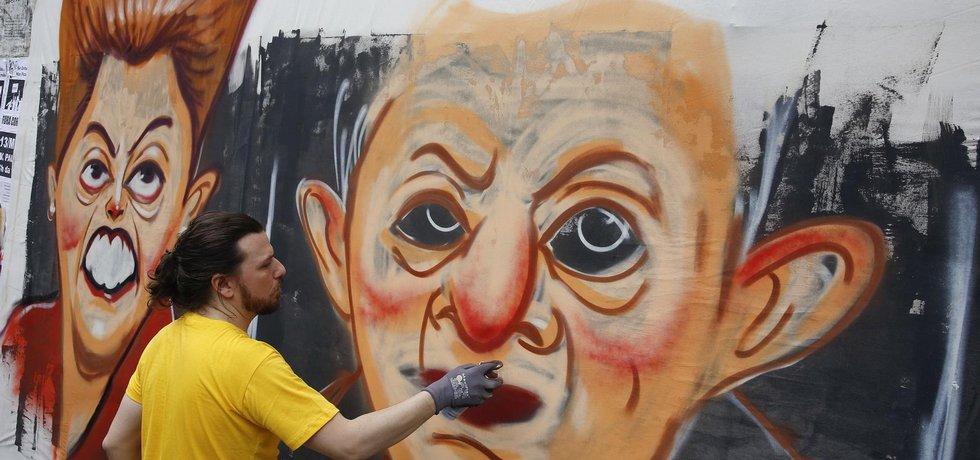 Demonstrace za odstoupení brazilské prezidentky Dilmy Rousseffové