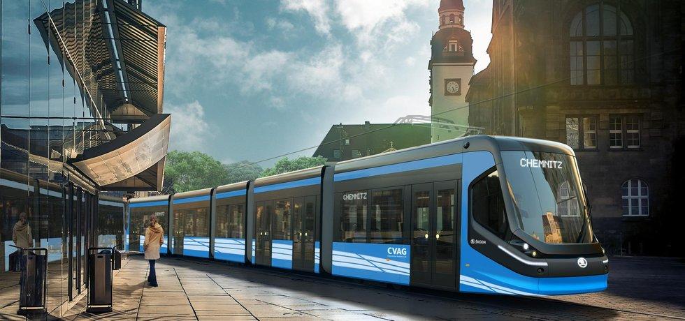Škoda Transportation dodá do německého Chemnitzu 14 tramvají (na vizualizaci) za zhruba 950 milionů korun. První vůz převezme čtvrtmilionové saské město v létě 2018 do zkušebního několikaměsíčního provozu, celá flotila bude dodána do léta 2019.