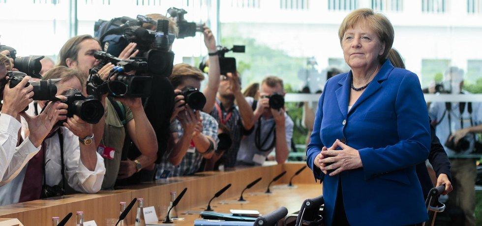 Německá kancléřka Angela Merkelová během tiskové konference