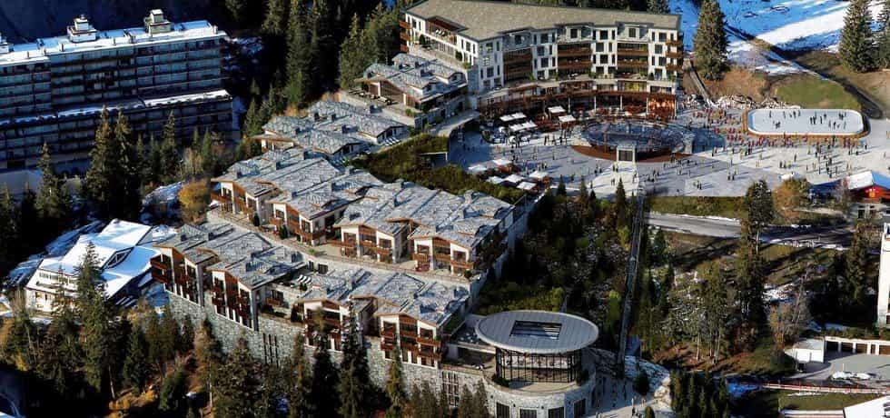 Vizualizace hotelového komplexu Radovana Vítka ve švýcarském Crans-Montana. (Zdroj: Archiv)