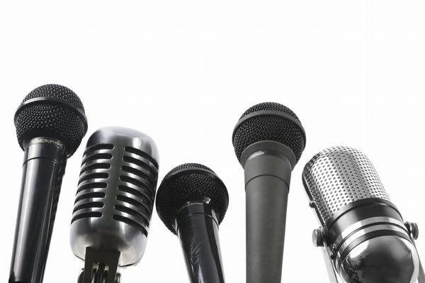 mikrofon, média, rozhovor