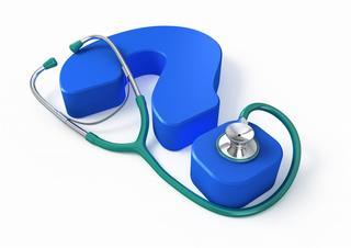 otazník, stetoskop