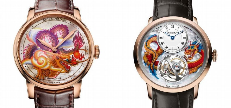 Ručně malované hodinky s motivem čínského draka od Arnold & Son