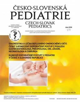 Obálka Česko-slovenská pediatrie