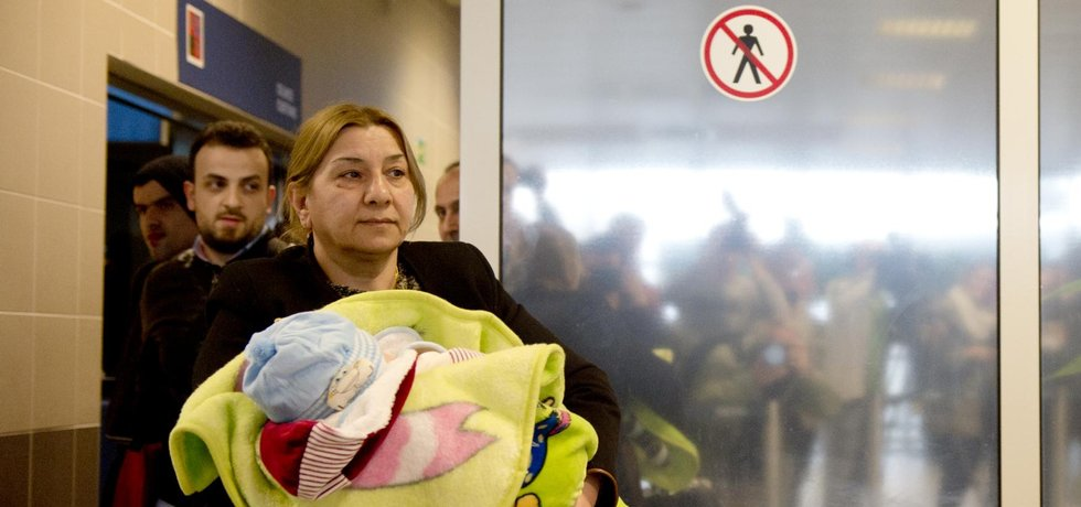 Přílet iráckých uprchlíků do Česka