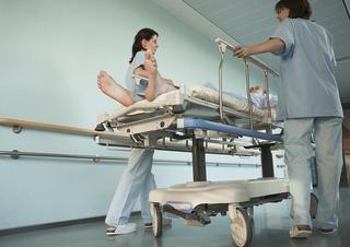 chodba, sestry, lékařky, sestra, lékařka