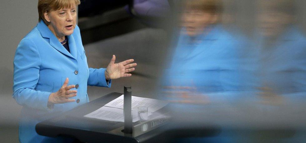 Německá kancléřka Angela Merkelová během projevu ve Spolkovém sněmu