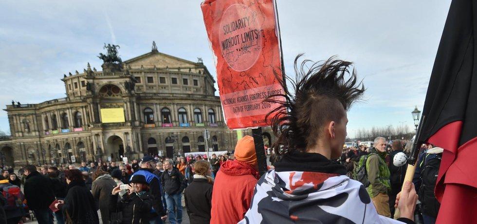 Sobotní demonstrace v Drážďanech