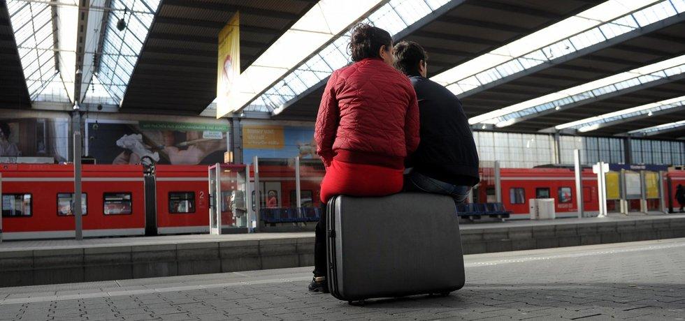 Čekání na vlak v Mnichově během stávky německých strojvůdců