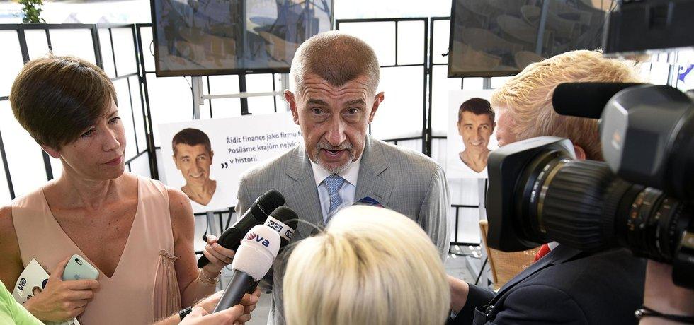 Předseda ANO a ministr financí Andrej Babiš během tiskové konference v Ostravě