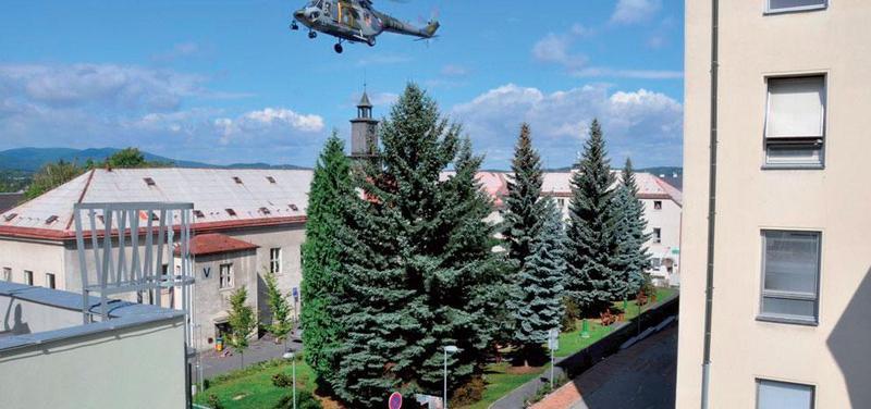 Zvuková zkouška vrtulníku v liberecké nemocnici