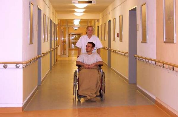 nemocnice, chodba, pacient, sestra