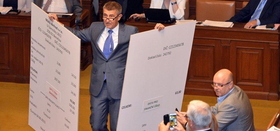 Ministr financí Andrej Babiš s maketami účtenek EET.