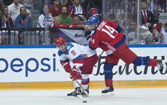 Tomáš Plekanec (vpravo) během přípravného utkání Česka s Ruskem na Světový pohár