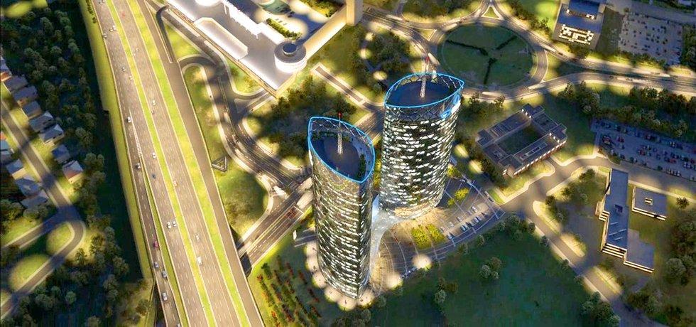 Nejvyšší budovy v Česku. Po dokončení bude mít východní věž projektu téměř 140 metrů, západní věž bude o 11 metrů nižší. Vyšší budova v České  republice zatím není