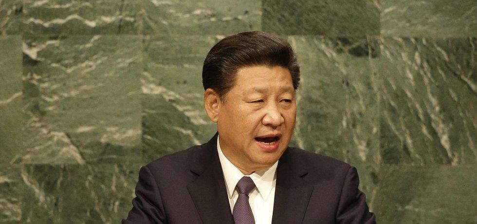 Čínský prezident Si Ťin-Pching při projevu v OSN