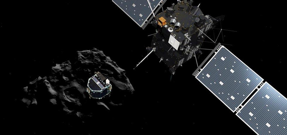 Průzkumný vesmírný modul Philae se vydal na povrch komety (ilustrační foto)