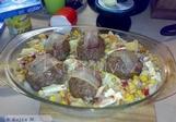 Mleté maso zapečené s bramborem, těstovinou