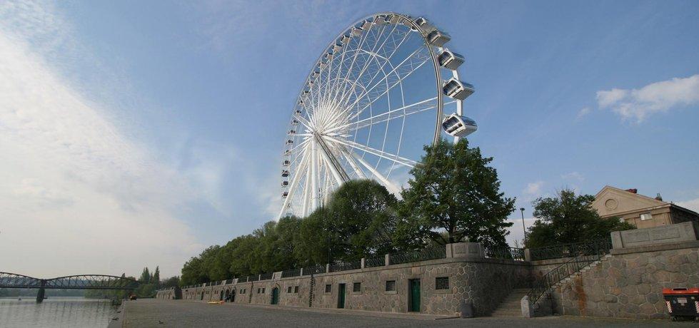 Vizualizace záměru stavby ruského kola na vltavském nábřeží (zdroj: ČTK)