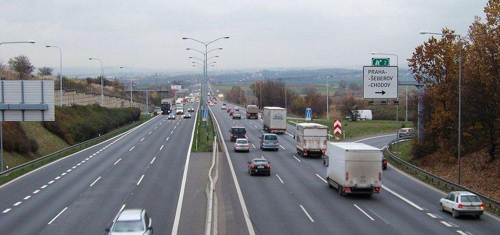 Dálnice D1 na okraji Prahy