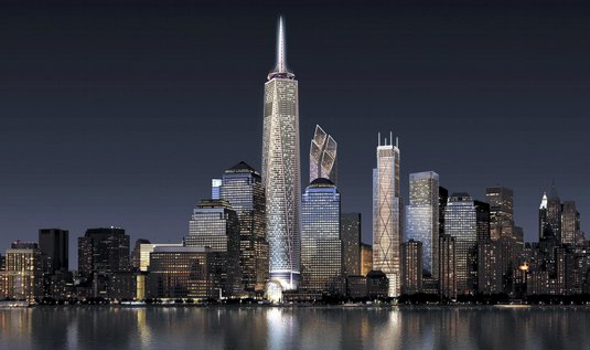 Tak má v roce 2015 vypadat pohled na Manhattan, kde na místě zničených věží WTC vyrůstají nové mrakodrapy