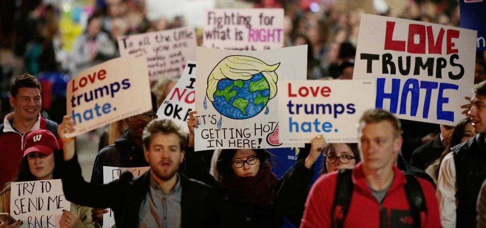 Protesty proti zvolení Donalda Trumpa prezidentem ve Wisconsinu