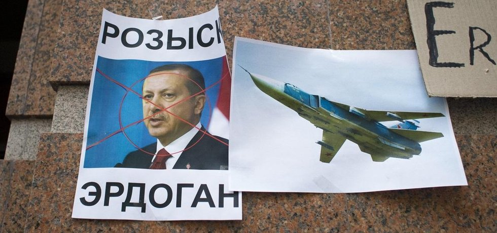 Portrét tureckého prezidenta Recepa Erdogana modelu sestřeleného ruského letounu Su-24