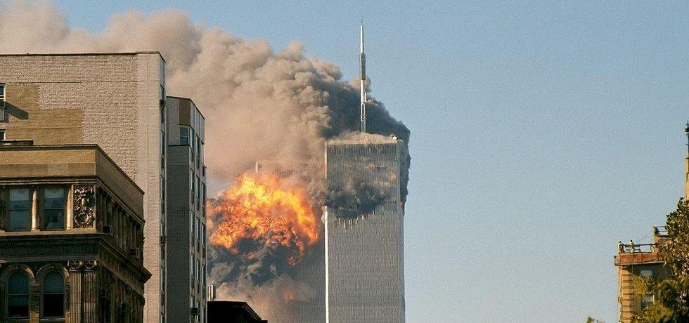 World Trade Center po nárazu letadel (11. září 2001)