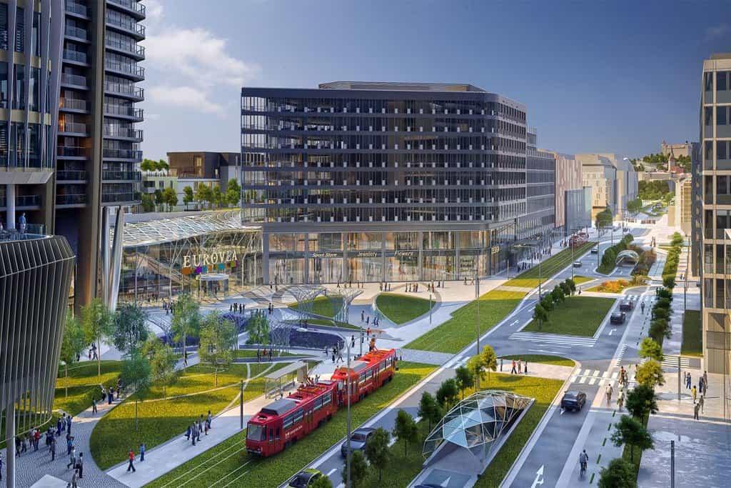 V rámci projektu přibude šest kinosálů, 487 bytů, 40 300 čtverečních metrů kancelářských ploch a více než 2200 parkovacích míst.