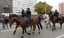 Pořádková policie v ulicích Chemnitzu