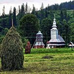 Kupky sena se na Zakarpatské Ukrajina stavějí kolem vidlí