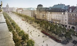 Tramvaje se vrátí v roce 2023 na Václavské náměstí. Rozšíří se chodníky a přibudou stromy