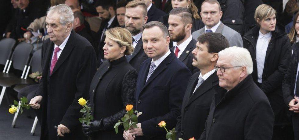 Prezidenti Frank-Walter Steinmeier, Janos Ader, Andrzej Duda, Zuzana Čaputová a Miloš Zeman