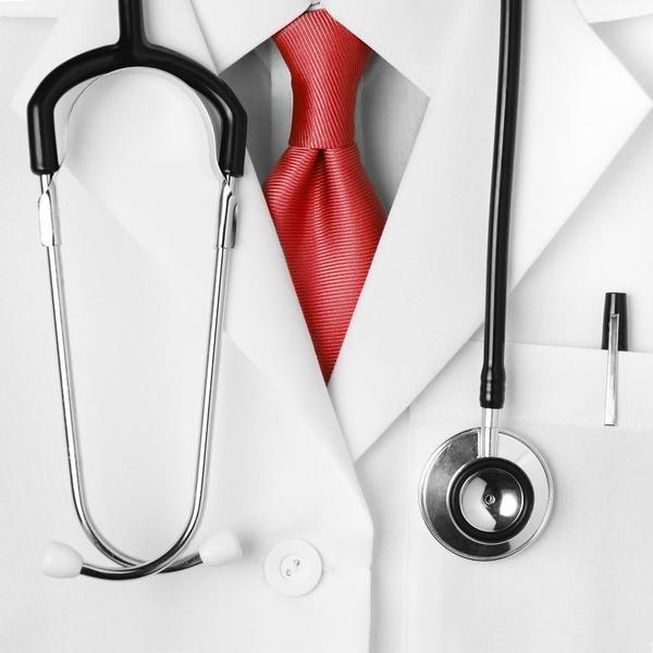 lékař, stetoskop, kravata