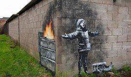Banksy na garáži v jižním Walesu