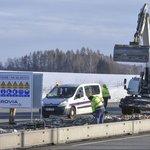 Stavební práce na dálnici, ilustrační foto