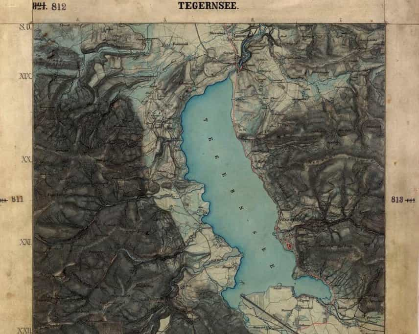 Historická mapa Tegernsee z roku 1862.
