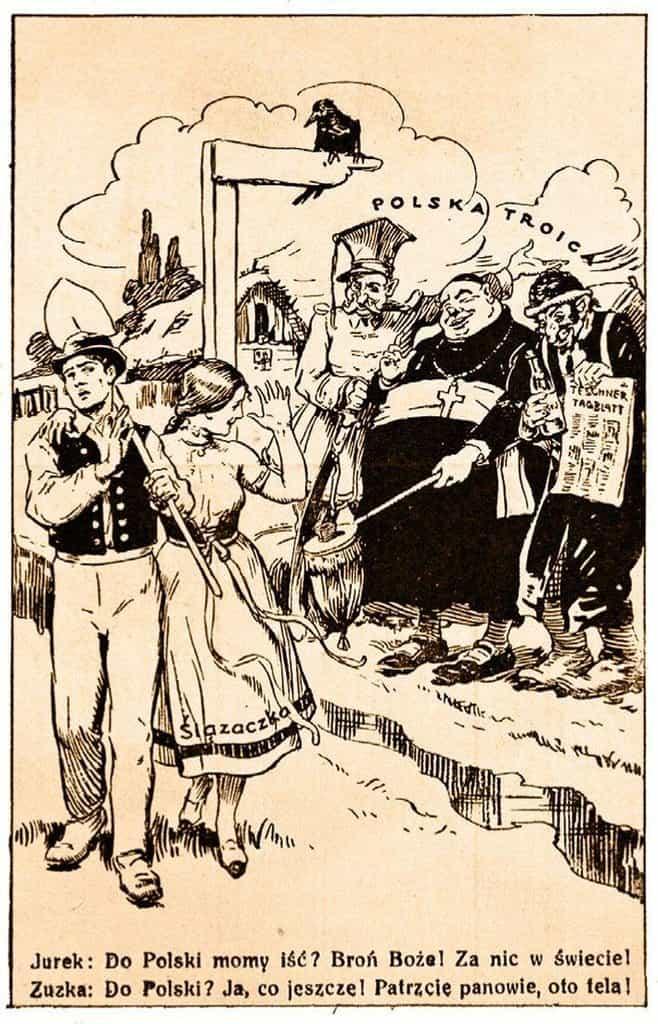 """Jurek a Zuzka. Dvojice na propagandistickém plakátě odolává lákání polské """"svaté trojice"""". """"Do Polska? To tak! Jen se, pánové, podívejte, tůdle!"""""""