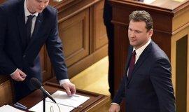 Jediný kandidát na předsedu Sněmovny Radek Vondráček (ANO) skládá poslanecký slib