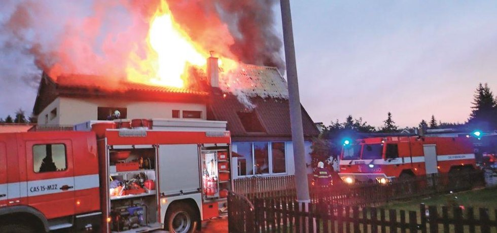 Požár rodinného domu v Příbrami