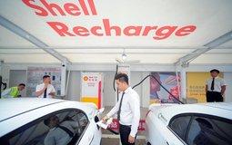 Dobíjecí stanice společnosti Shell v Číně, ilustrační foto