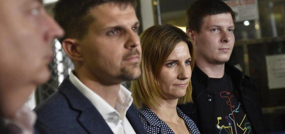 Představitelé budoucí brněnské koalice (zleva) Oliver Pospíšil, Petr Hladík, Markéta Vaňková a Tomáš Koláčný